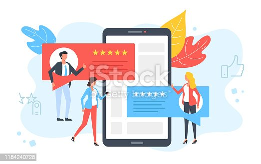 Customer reviews. People rate, online comment, recommend and give 5 stars. Positive feedback, client satisfaction concepts. Smartphone, mobile phone with testimonials on screen. Modern flat design. Vector illustration