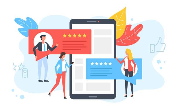 opinie klientów. ludzie oceniają, komentują, polecą i dają 5 gwiazdek. pozytywne opinie, koncepcje satysfakcji klienta. smartfon, telefon komórkowy z referencjami na ekranie. nowoczesny płaski design. ilustracja wektorowa - evaluation stock illustrations