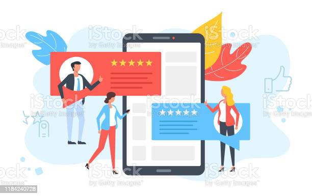 Отзывы Клиентов Люди Оценивают Онлайн Комментарий Рекомендуют И Дают 5 Звезд Позитивная Обратная Связь Концепции Удовлетворенности Кли — стоковая векторная графика и другие изображения на тему Анкета