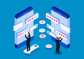 Customer reviews, service evaluation, feedback, rating system isometric concept