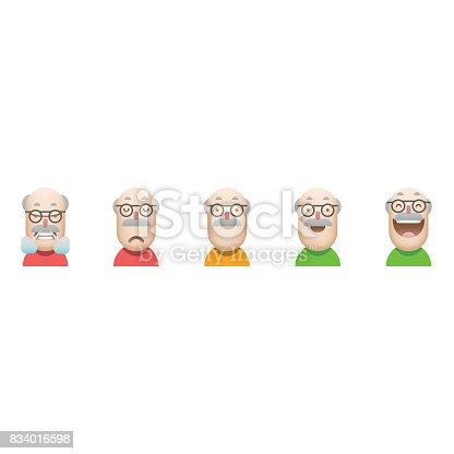 Vector illustration of a set of customer satisfaction avatar icons depicting senior men