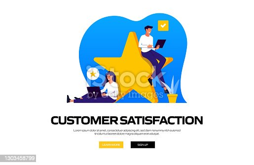 istock Customer Satisfaction Concept Vector Illustration for Website Banner, Advertisement and Marketing Material, Online Advertising, Business Presentation etc. 1303458799