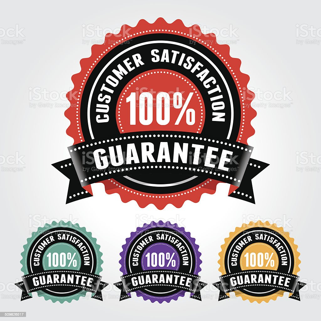 Customer Satisfaction Guarantee Badge and Sign vector art illustration