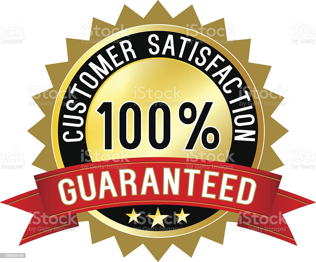 Customer satisfaction guaranteed label vector art illustration