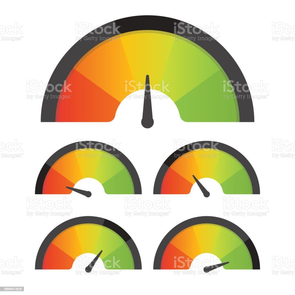Customer satisfaction meter speedometer set. Vector illustration vector art illustration
