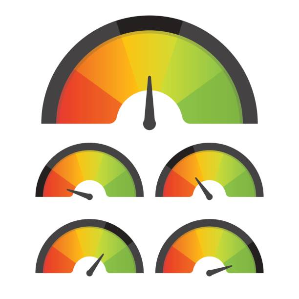 customer satisfaction meter speedometer set. vector illustration - credit score stock illustrations, clip art, cartoons, & icons