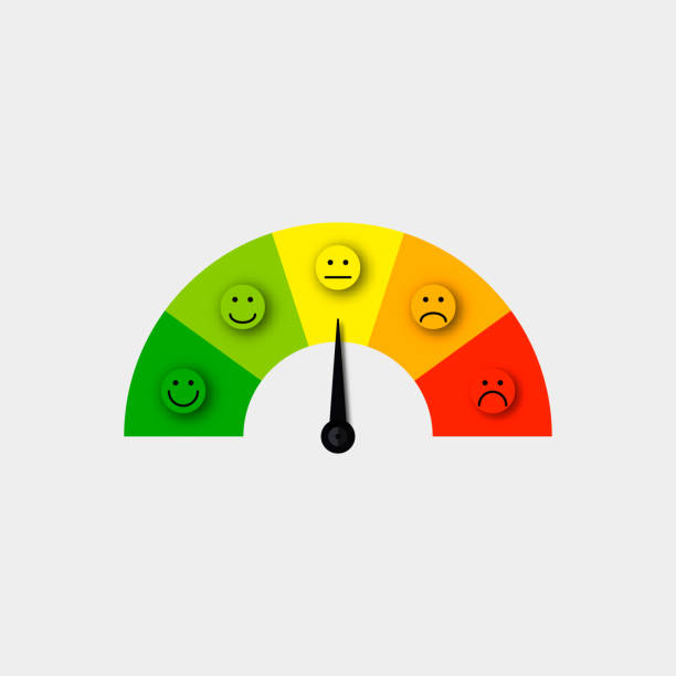 customer satisfaction meter vector - credit score stock illustrations, clip art, cartoons, & icons