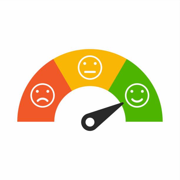 Compteur de satisfaction client avec différentes émotions, émotions échelle de fond. - Illustration vectorielle