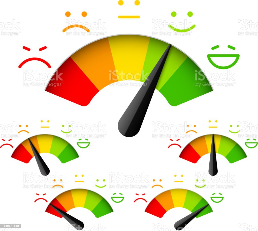 Customer satisfaction meter with different emotions vector art illustration
