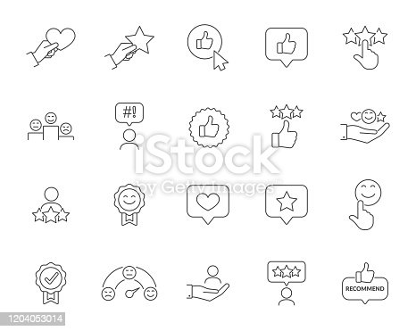 Customer Satisfaction Related Vector Line Icons Set. Contains such icons as Customer Performance, Review, User Feedback, Rating, Warranty, Smile, Heart, Star. Editable Stroke
