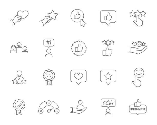 ilustrações, clipart, desenhos animados e ícones de conjunto de ícones da linha de vetoria relacionados à satisfação do cliente. contém ícones como desempenho do cliente, revisão, feedback do usuário, classificação, garantia, sorriso, coração, estrela. curso editado - feedback