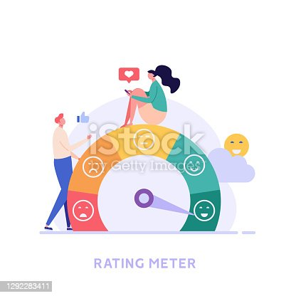 istock Customer Satisfaction Survey Clients Choosing Satisfaction Rating with Good and Bad Emotions. Concept of Client Feedback, Online Survey, Customer Review. Vector illustration for Web Design 1292283411