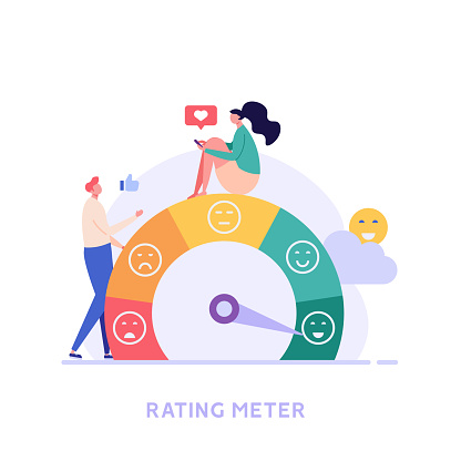 Customer Satisfaction Survey Clients Choosing Satisfaction Rating with Good and Bad Emotions. Concept of Client Feedback, Online Survey, Customer Review. Vector illustration for Web Design
