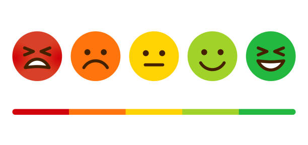 stockillustraties, clipart, cartoons en iconen met klanttevredenheidsonderzoek emoticons - smile