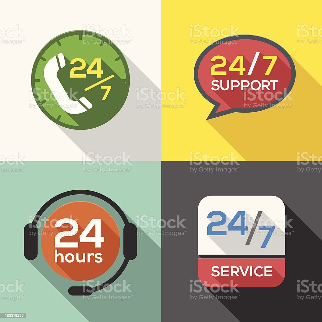 Customer Service 24 hours Support Flat Icon set royalty-free stock vector art
