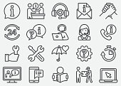 Customer Service and Support Line Icons