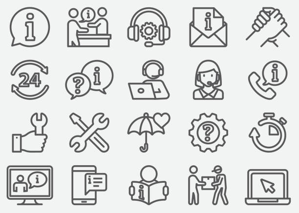 Customer Service and Support Line Icons Customer Service and Support Line Icons call centre illustrations stock illustrations