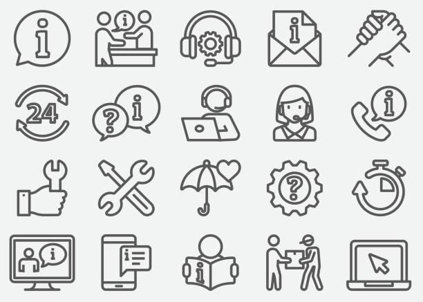 ilustrações, clipart, desenhos animados e ícones de ícones de linha de suporte e atendimento ao cliente - user line icon