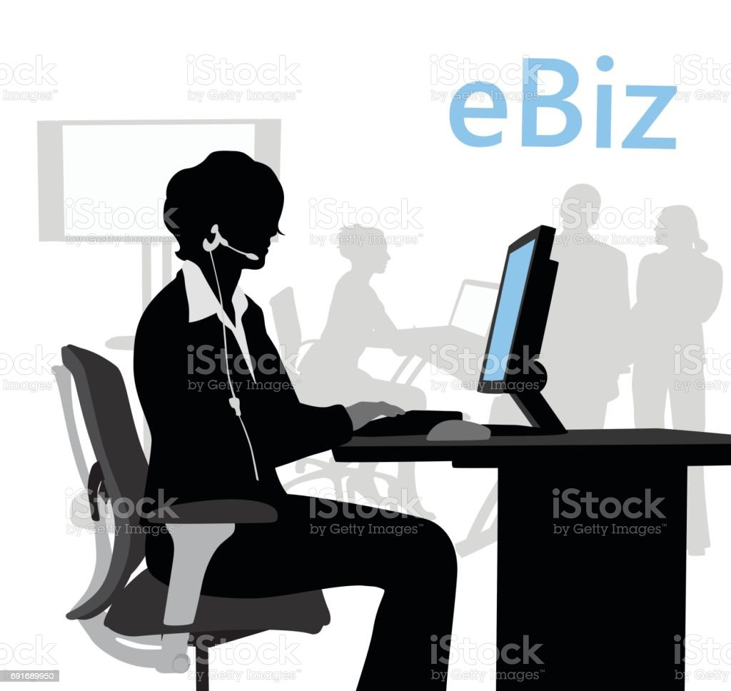 Asistentes de servicio al cliente - ilustración de arte vectorial