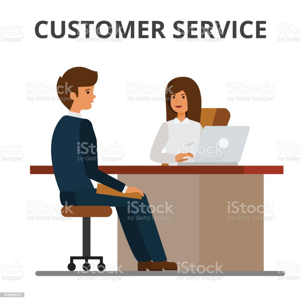 Customer service, bank office, client getting credit, financial agreement. Businesswoman discussing with businessman sitting at the table. Flat style vector illustration isolated on white background. vector art illustration