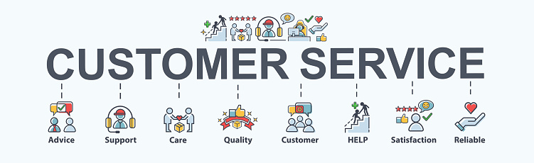 Customer Service Banner Web Icon For Business Help Mind Advice Customer Care Satisfaction Experience Quality And Support Flat Cartoon Vector Infographic Stock Illustration - Download Image Now