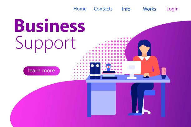 Kundenservice-Geschäftsfrau Banner. – Vektorgrafik