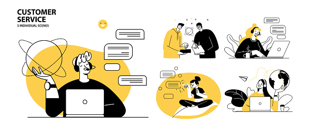 Customer service concept illustrations. Collection of individual scenes for technical support assistant, customer and operator vector. Customer service, hotline operator advises customer, online global technical support 24 7