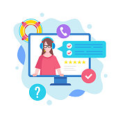 Customer service concept. Vector illustration. Support, call center, hotline, online help, technical support. Modern flat design graphic elements for websites, web pages, templates, infographics, web banners