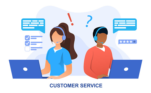 Customer Service concept with online personnel