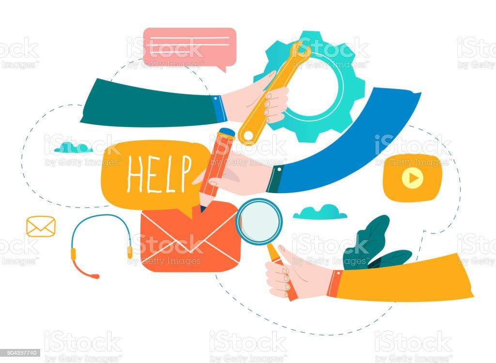 Customer service, customer assistance, call center flat vector vector art illustration