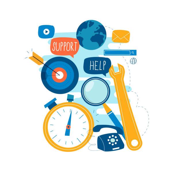 Customer service, customer assistance, call center operator vector art illustration