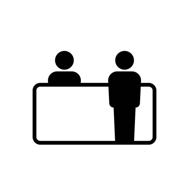illustrations, cliparts, dessins animés et icônes de conception simple d'icône de bureau de service à la clientèle - hall d'accueil