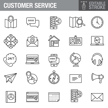 Customer Service Editable Stroke Icon Set