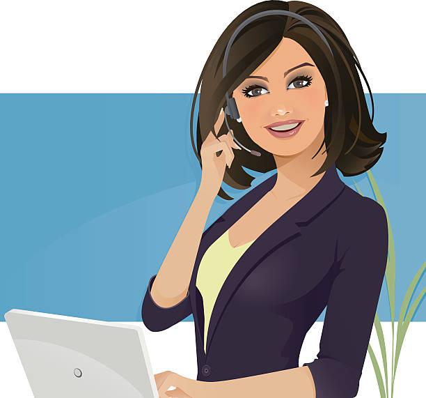 ilustraciones, imágenes clip art, dibujos animados e iconos de stock de chica de servicio al cliente - recepcionista