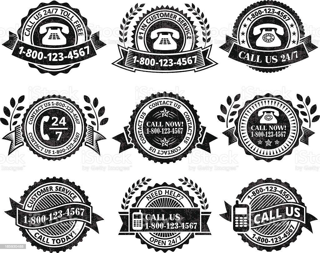 Customer Service Help line black & white vector icon set royalty-free stock vector art