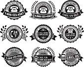 Customer Service Help line black & white icon set