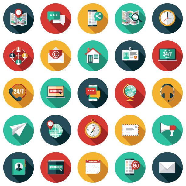 customer service icon set - color image stock illustrations