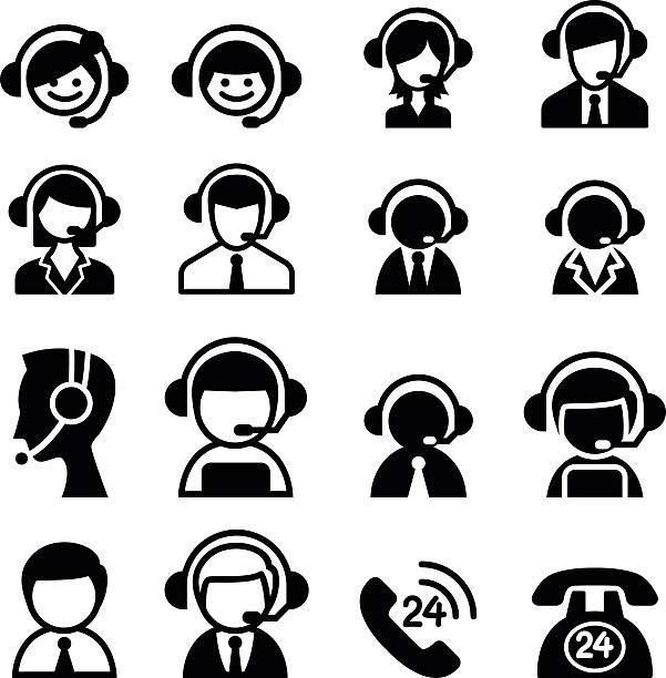 顧客サービスアイコン - コールセンター点のイラスト素材/クリップアート素材/マンガ素材/アイコン素材