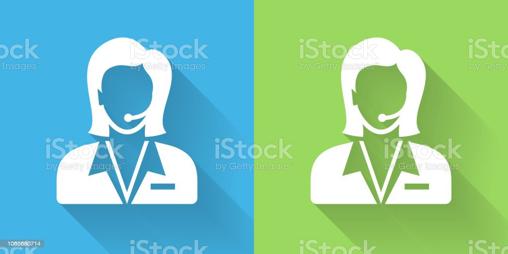 Customer Service Icon With Long Shadow Stock Illustration