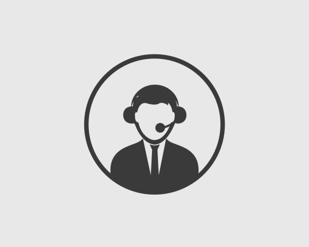 customer service icon with round shape - call center stock illustrations