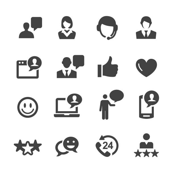 customer service icons - acme series - помощь stock illustrations