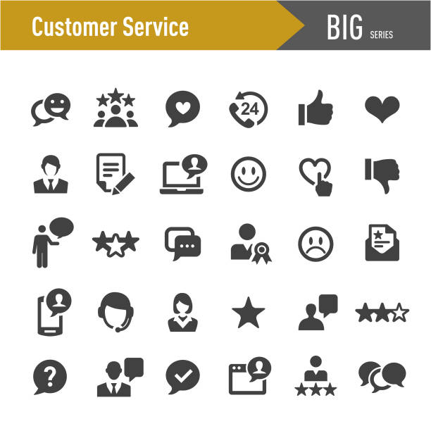 Customer Service Icons - Big Series Customer Service, happy boss stock illustrations
