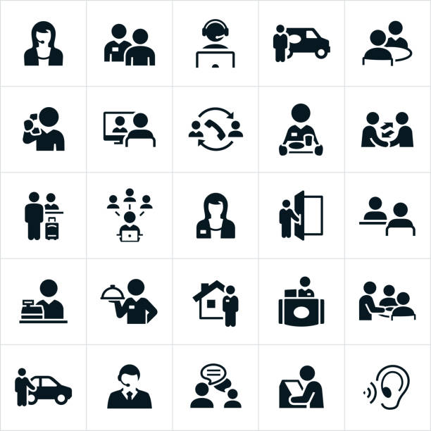 customer service icons - receptionist stock illustrations, clip art, cartoons, & icons