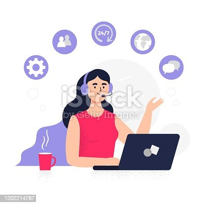 Flat Vector illustration good for telemarketing, call centers, helpline or other businesses.