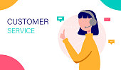 Customer service landing page. Call center assistant. Female operator advising clients. Perfect for support, call center, assistance. Vector illustration.