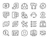 Customer Service Light Line Icons Vector EPS File.