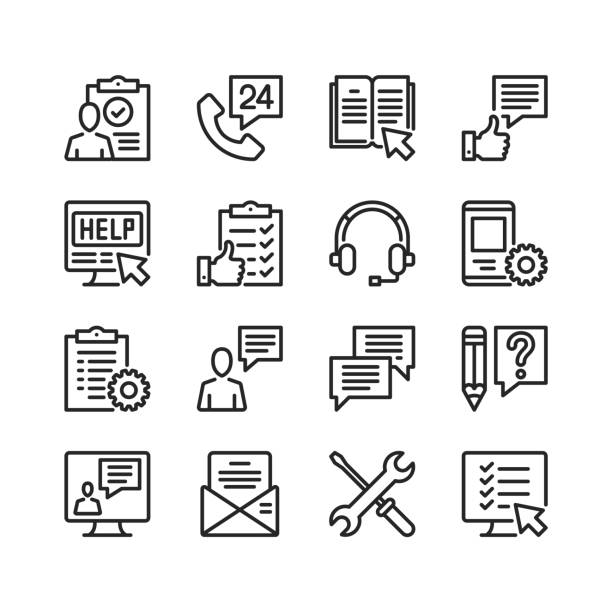 Customer service line icons. Modern stroke, linear elements. Outline symbols collection. Premium quality. Pixel perfect. Vector thin line icons set vector art illustration