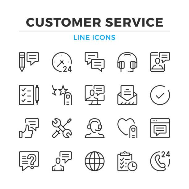 kunden service-line symbole festgelegt. moderne gliederung elemente, grafik-design-konzepte. schlaganfall, linearen stil. einfache symbole sammlung. vektor-linie-icons - assistent stock-grafiken, -clipart, -cartoons und -symbole
