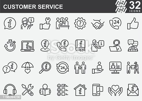 Customer Service Line Icons