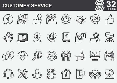 Customer Service Line Icons